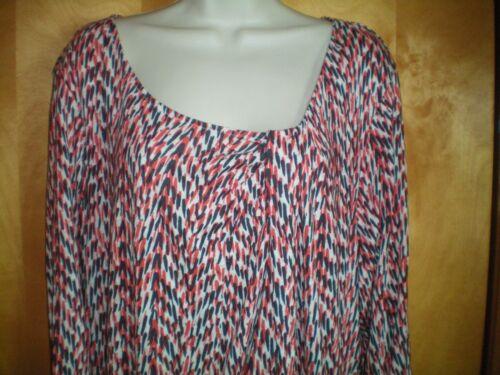 NWT NEW womens size 1X 2X orange gray white DAISY FUENTES tunic shirt scoop neck
