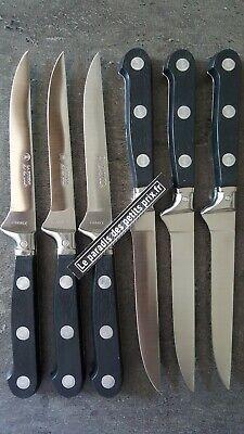 6 x Couteaux à steak lisse manche noir LA FOURMI FRANCE