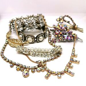 Vintage-1950s-Rhinestone-Lot-Of-Jewellery-Mid-Century-Jewellery-Set-Joblot
