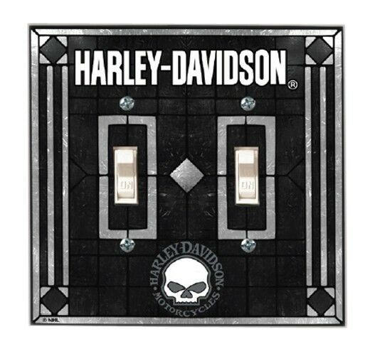 Harley Davidson® Willie G Skull Double or Single Art-Glass Switch Plate Cover