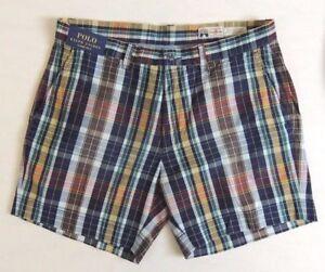 Men-Polo-Ralph-Lauren-Classic-Fit-Tartan-Madras-Plaid-Flat-Casual-Golf-Shorts-6-034