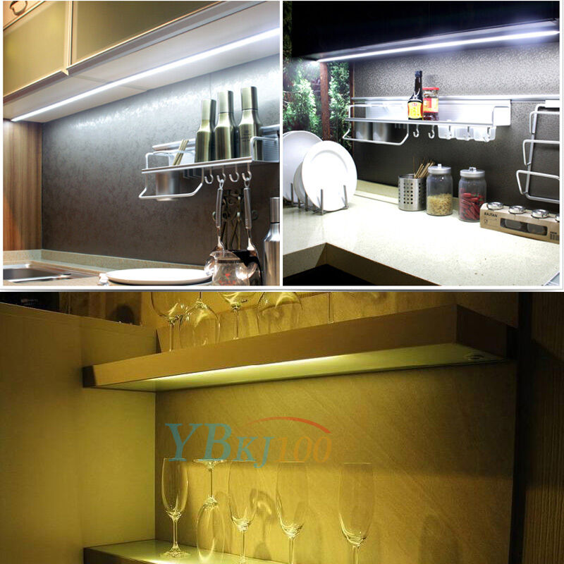 4pcs kitchen under cabinet shelf counter led light bar lighting kit lamp white ebay. Black Bedroom Furniture Sets. Home Design Ideas