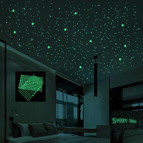 Estrellas Puntos 202pzs Luminoso Brillan en la Oscuridad Calcomanias Niños Decor