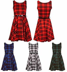 New-Womens-Belted-Tartan-Check-Print-Ladies-Sleeveless-Flared-Skater-Dress-8-26