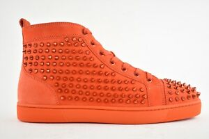 Details about Christian Louboutin Mens Louis Flat Spike Tomate Red Orange High Top Sneaker 44