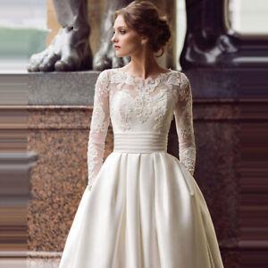 Details About Elegant Wedding Dresses Scoop Neck Long Sleeve Appliqued Satin Wedding Gown 2019