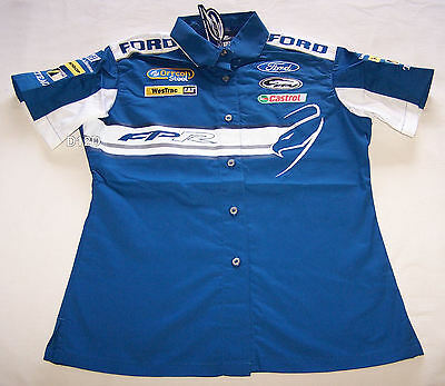 Ford Performance Racing FPR Ladies Blue White Pit Crew Shirt Size 10 New