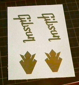 2 gibson guitar headstock logos wth crown logo any color