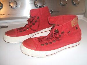 Red Levi Hi-Top Canvas shoes Size 5 | eBay