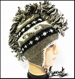 Mohawk beanie Ski Animal Hat handmade 100%Wool w Fleece lining one ... ff5d2e14b00