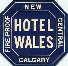 CALGARY ALBERTA CANADA HOTEL WALES VINTAGE LUGGAGE LABEL