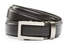 Anson Belt & Buckle. Mens traditional gunmetal buckle with black leather strap