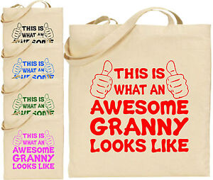 Image is loading Awesome-Granny-Large-Cotton-Tote-Shopping-Bag-Canvas- b3a03edd30d