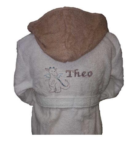 Baby-Bademantel Dino stehend  bestickt