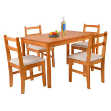 5 Pcs Pine Wood Dining Set Table And 4 Upholstered Chair Breakfast Furniture New
