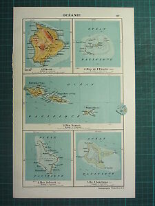 1921 Map Oceania Samoa Islands Hawaii Christmas Hermit Island Ebay