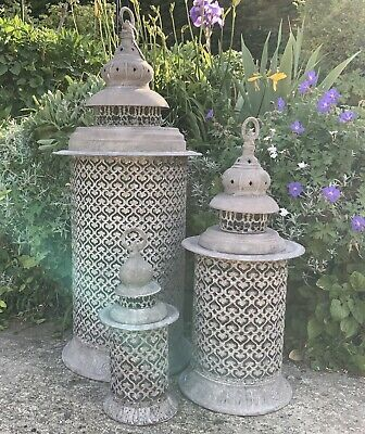3 X Giant Metal Garden Lantern French, Large Moroccan Outdoor Lanterns Uk
