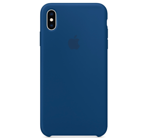 Echt-Original-Apple-iPhone-XS-Silikon-Huelle-Silicone-Case-Blue-Horizontblau