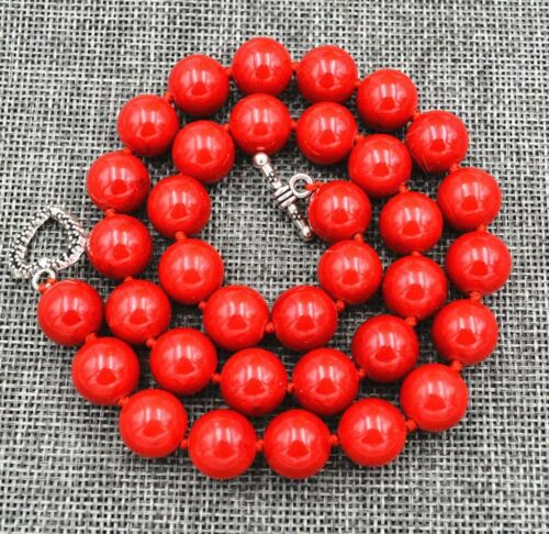 """12mm Red Marine Coral Necklace 18""""/&Tibetan silver love clasps"""