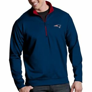 official photos b39ba a1b54 Details about New England Patriots Antigua Embroidered Navy Blue 1/4 Zip  Leader Pullover