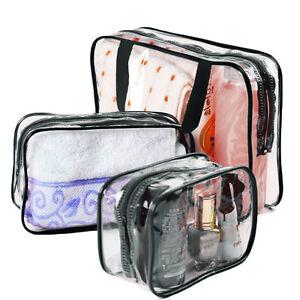 3pcs-Makeup-Toiletry-Clear-PVC-Travel-Wash-Bag-Holder-Pouch-Set-Black