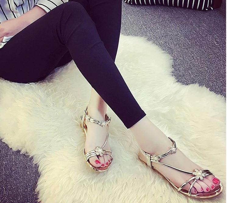 Princefly 2018 - Women's Bohemia Beach Sandal - Gold - 2018 Size:8(39)~ New ~ 5d8c5c