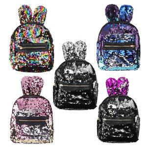3423c09be416 Women Girls Sequin Backpack Rabbit Big Ears Dazzling Glitter Mermaid ...