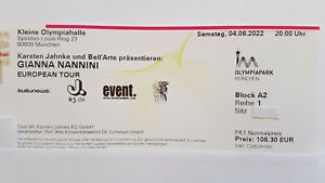2 x Gianna Nannini 04.06.2022 München - 1. Reihe direkt an der Bühne