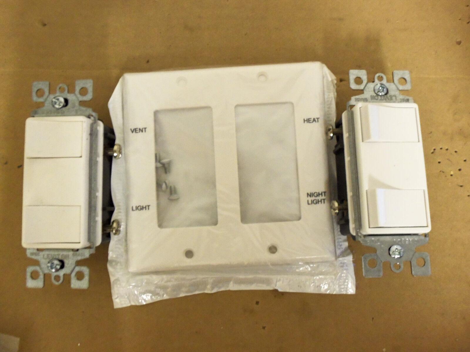 Leviton 2 Gang Wall Plate 405 80409 With Switches Ebay White Decora Triple Rocker Light Switch Triplex 15a 1755