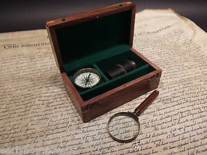 Vintage Antique Style Map Magnifying Glass Compass Telescope Box Field Kit