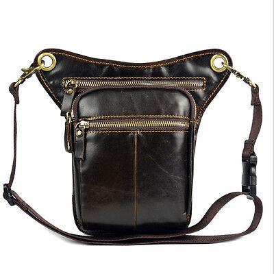 Men Genuine Leather Travel Messenger Hip Bum Fanny Pack Waist Thigh Drop Leg Bag