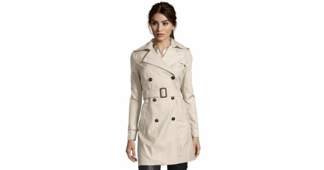 Cole Haan Womens Double Breasted Trench