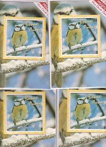 Lot De 4 Cartes De Voeux Magnet Mesange Bonne Année Meilleurs Voeux Enveloppe Avamg0ly-07162237-830312492