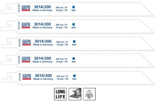Säbelsägeblätter 5 Stück Bi-Metall 200 mm für Säbelsäge S1122EF Wilpu 3014//200