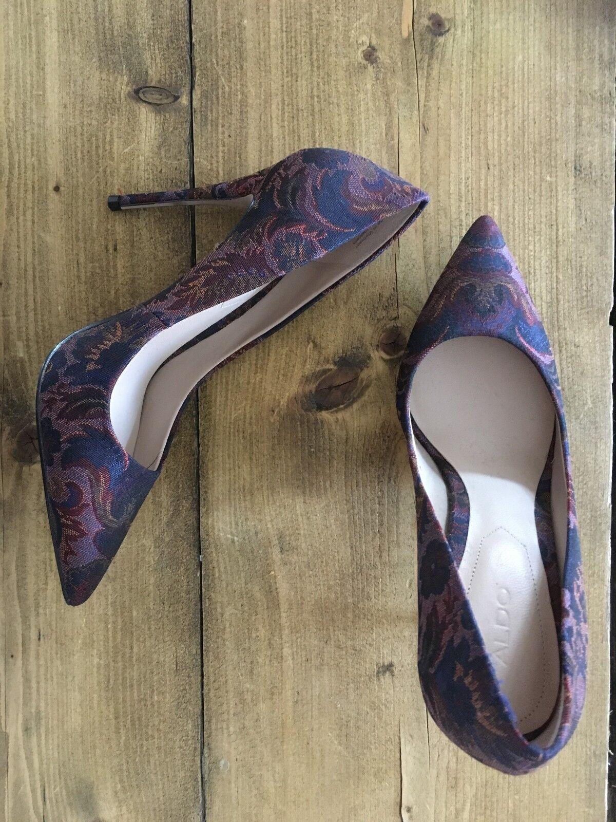 New Aldo Bordeau Tapestry Heels for Women Size 4.5