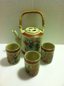Satsuma-5-pc-Tea-Set-Porcelain-Japan-Paradise-Birds-amp-Wicker-Gold-Gilted-3-Cups