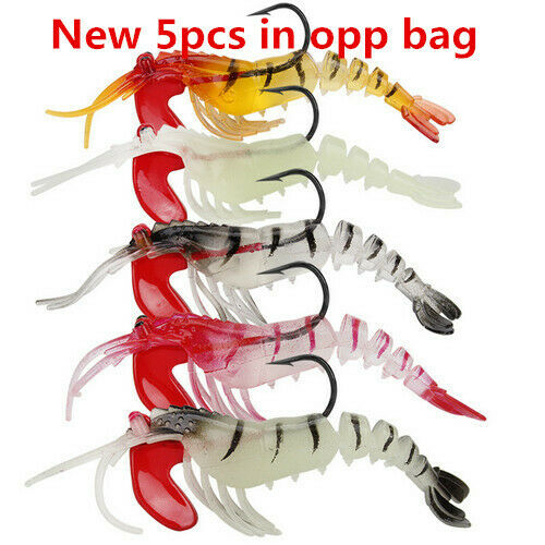 5pcs 13g Glow Rigged Prawn Fishing Lures Soft Jointed Plastic Shrimp/& Lead Head