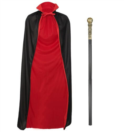 HALLOWEEN REVERSIBLE CAPE CLOAK VAMPIRE DRACULA STAFF CANE PROP FUN FANCY DRESS