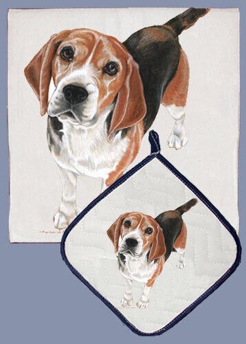 Beagle Dish Towel /& Pot Holder Set