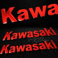 "2x 8""x 1.25"" 3D ABS Emblem Decal Logo+Letter Polish/Gloss Sticker Kawasaki Red"