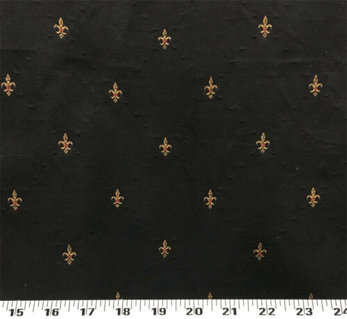 Drapery Upholstery Fabric Diamond Pattern w/ Embroidered Fleur De Lys - Black
