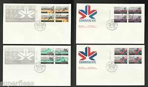 1978-Canada-Post-FDC-Edmonton-Games-set-of-4-LL-blocks-757-758-779-780-781-782