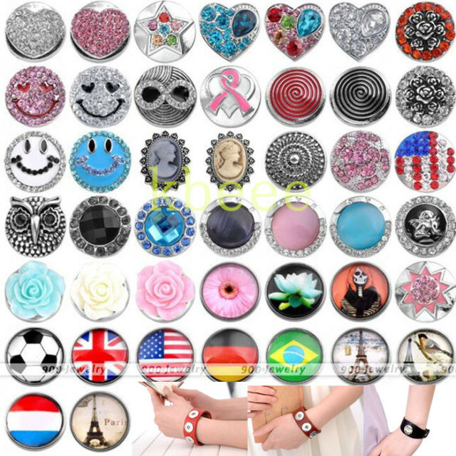 Punk Acrylic Metal Snap Button Beads Charm Fit Leather Buckle Bracelet DIY