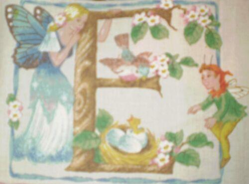 Vintage FAIRY Alphabet Letter /'E/' Fabric Panel 17cm x 13cm