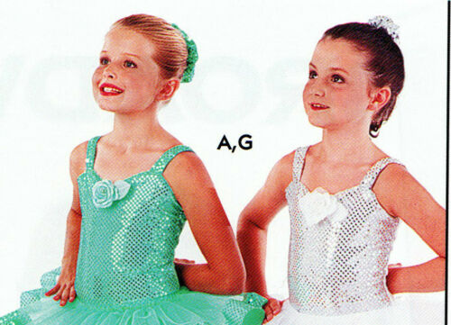 NWT Wolff Fording Faux Sequin Dance Costume Leotard girls Many Colors 2 straps