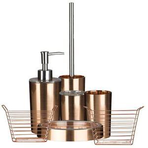Shine Rose Gold AS Plastic Tidy Bathroom Accessories Set | eBay