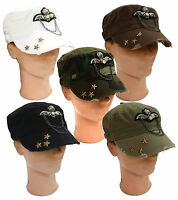 Cadet Box Cap Army Metal Chain Emblem Military Fashion Hat Cap