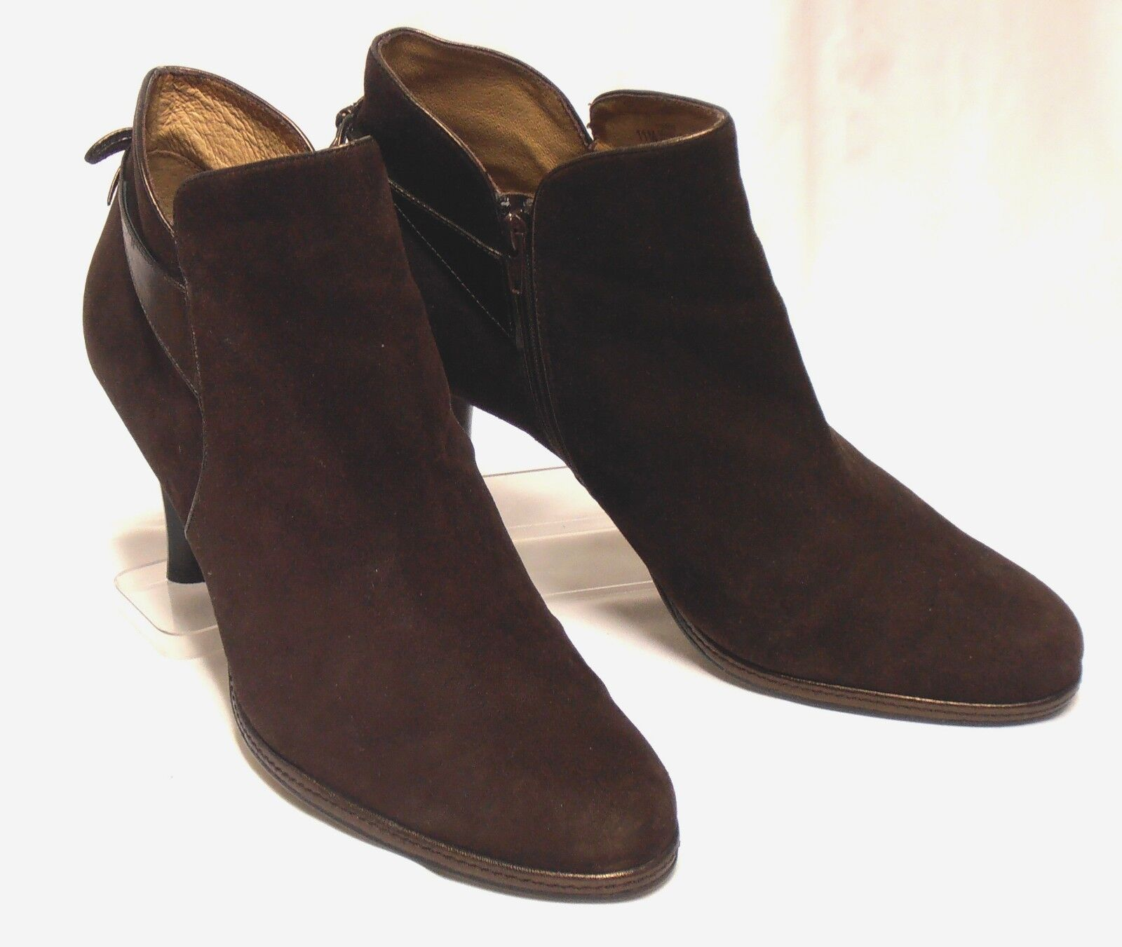 SOFFT Size 11 Brown Suede Leather Bronze Detailed Side-Zip High-Heel Ankle Boots