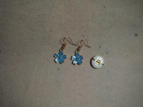 Blume blau gold Ohrringe Gänseblümchen Sommer *Neu* Ohrhaken vergoldet