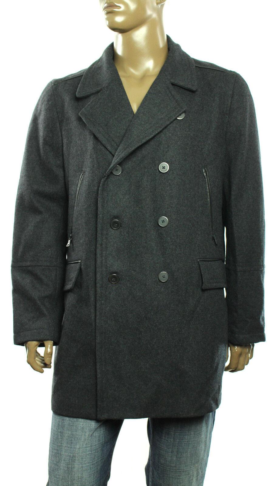 New Alfani Slim Fit Faux Leder Trim Wool Blend Double Brest  Peacoat Coat XXL